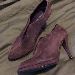 Worthington Leather Purple Booties Beautiful 6 1/2